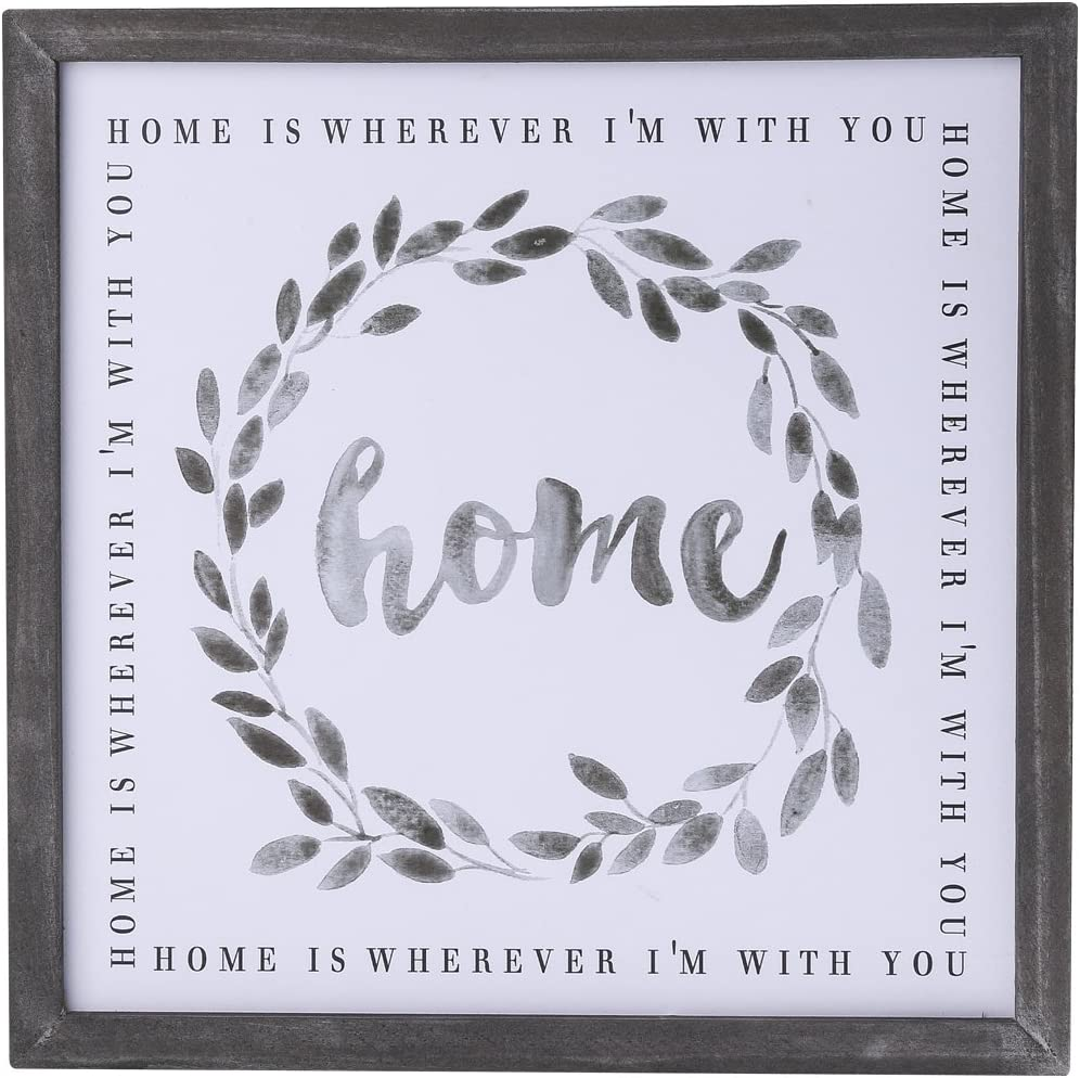 NIKKY HOME Wood Framed Wall Art Prints with Motivational Quote Home is Wherever I'm with You
