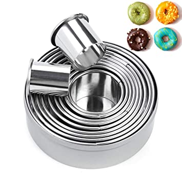 Redondo para galletas cortador de galletas Set de 12 – CALIDAD círculo anillo de acero inoxidable