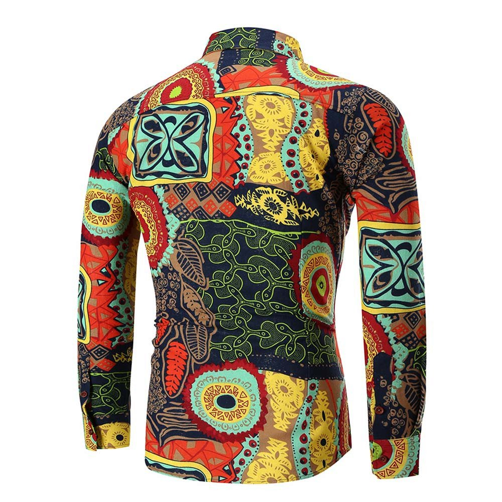 CieKen Men's Printed Long Sleeve Slim Fit Business Dress Shirt Top