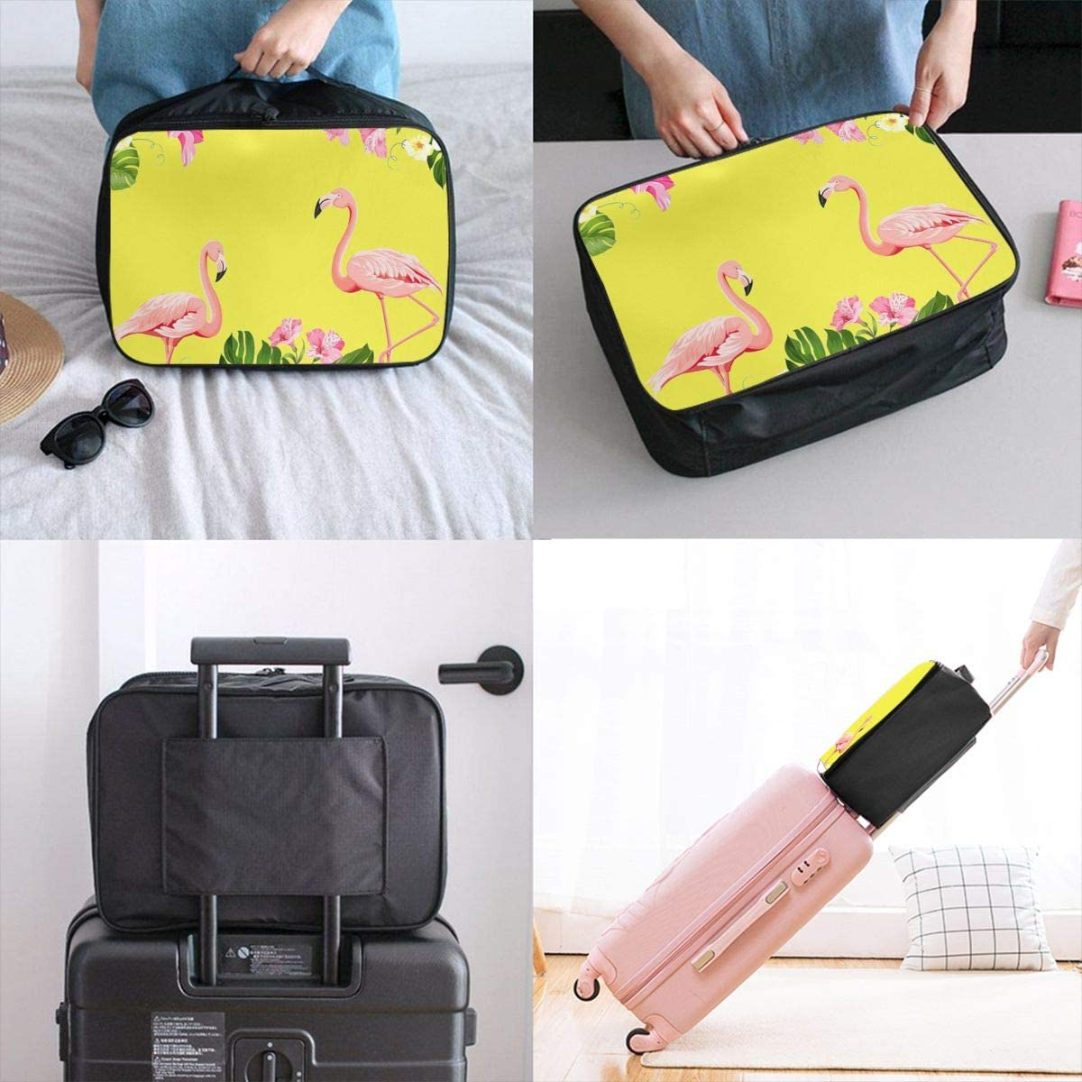 Yunshm Flamingo Background Design Tropical Flowers Personalized Trolley Handbag Waterproof Unisex Large Capacity For Business Travel Storage