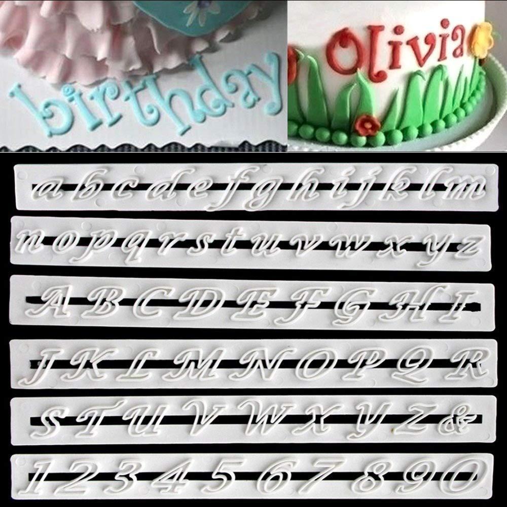 6 Pcs Letter Cutters A-Z Fondant Alphabet Molds Sugarcraft Cake Decorating Cutter Set (Lowercase Letters)