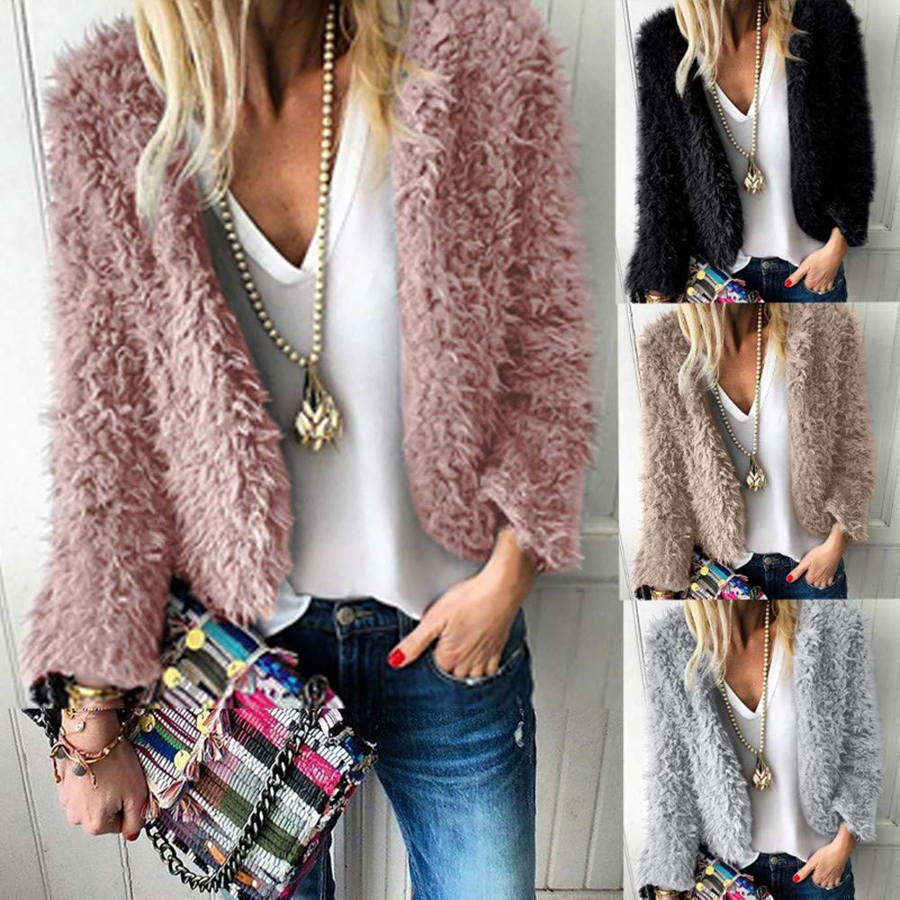 Damen Winter Dünn Mantel SHOBDW Frauen Mode Lässig Outwear Simplicity Solid Künstliche Wollmantel Strickjacke Warme Plüsch Reißverschluss Lose Revers