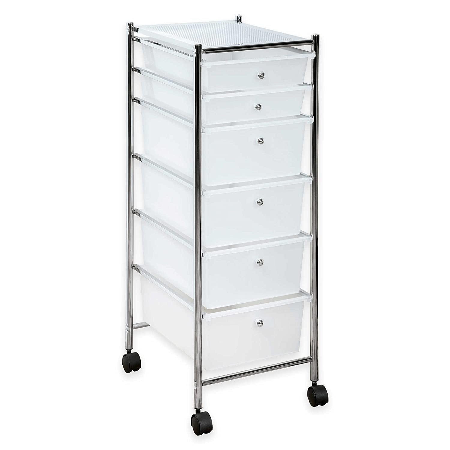 Amazoncom HomeCrate 6 Drawer Rolling Storage Cart Frosted White