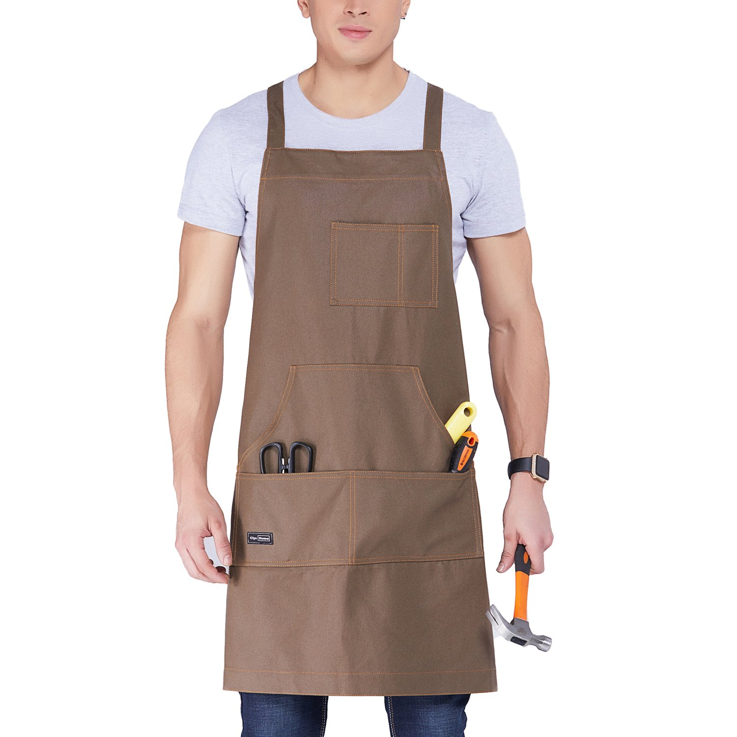 Clya Home Waxed Canvas Work Apron, Heavy Duty Tool Apron with big pockets, Cross-Back Straps Shop Apron Adjustable M to XXL for Women and Men (Brown)