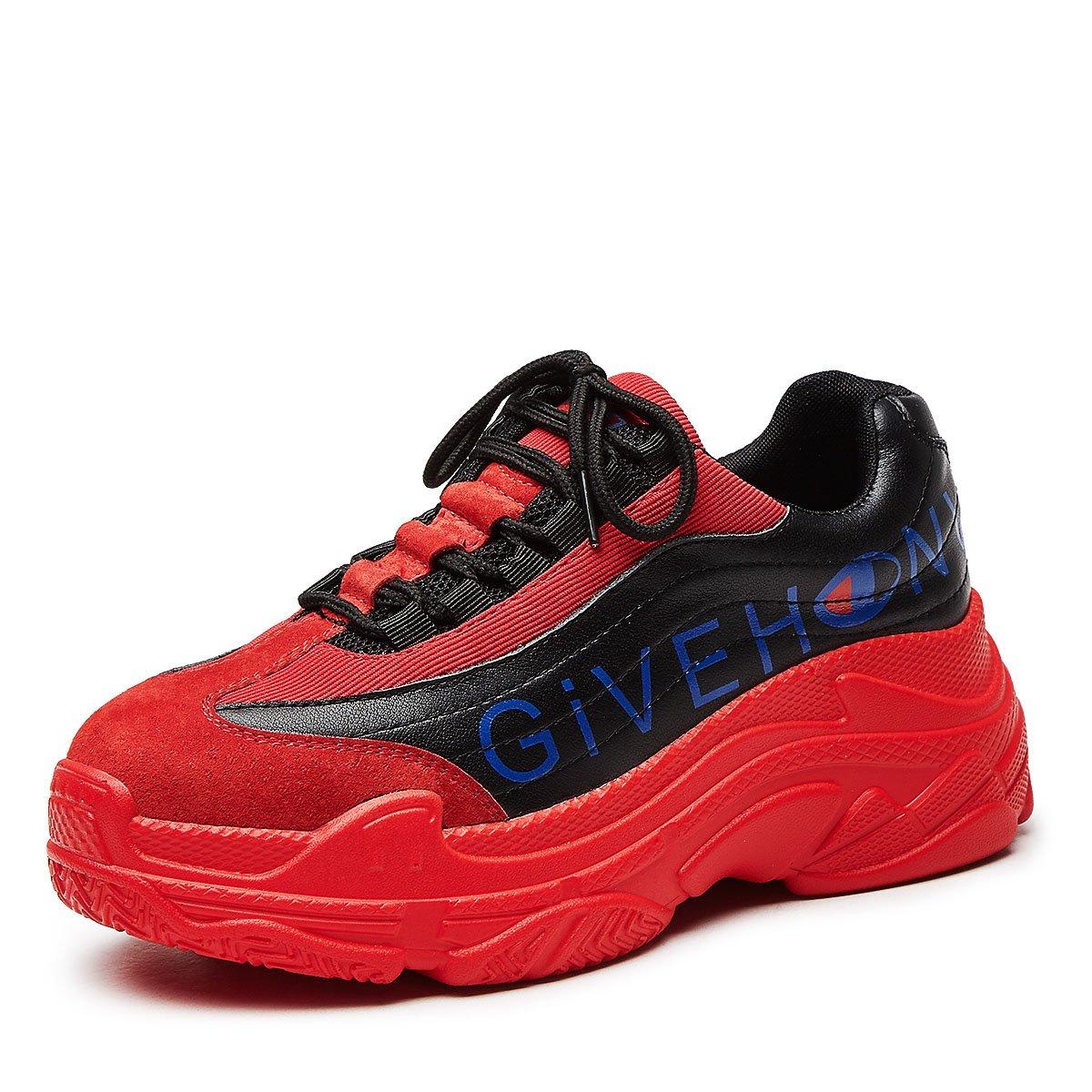 Zapatos Casuales de Las Mujeres Zapatos Casuales 2018 Zapatos de Cuero del Nuevo Estilo Plataforma de la Moda Zapatos Ocasionales (Color : Rojo, Tamaño : 38) 38|Rojo