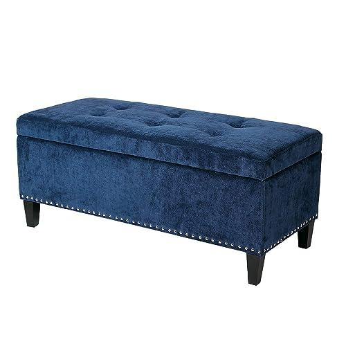 Joveco Storage Ottoman Bench Microfiber Rectangular Button Tufted Footstool Dark Blue
