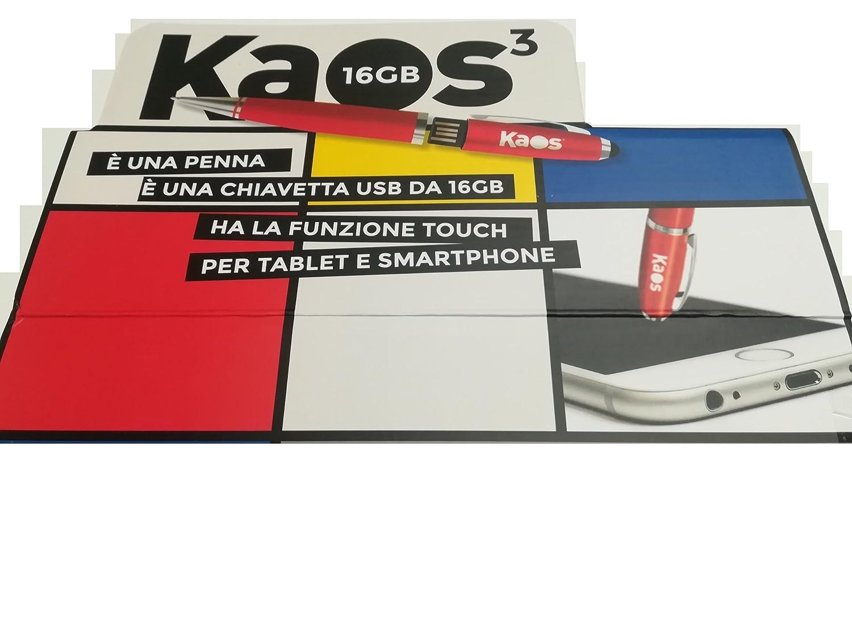 Penna 3 Funzioni Kaos,Penna a Sfera,Pen-Drive Con Funzione Touch Per Tablet Rossa