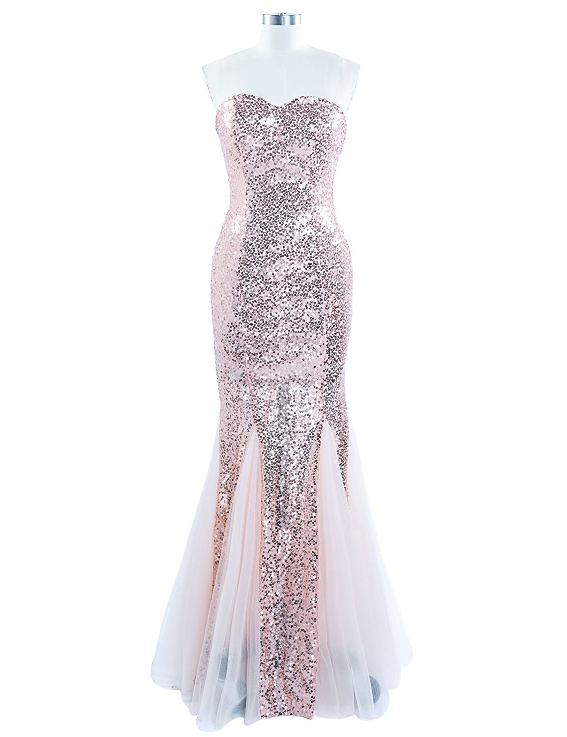 Sarahbridal Women's Long Mermaid Evening Prom Dresses Sequined Formal Occasion Dress SSD235
