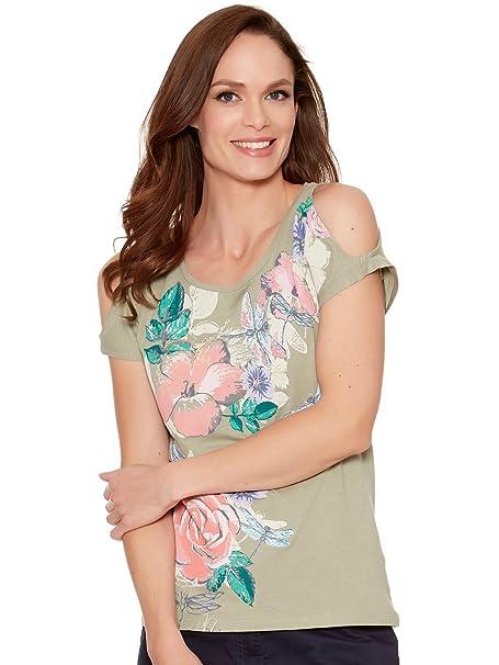 f5c31afab69434 M Co Ladies 100% Cotton Khaki Cold Shoulder Short Split Sleeve Scoop Neck  Floral Print Top