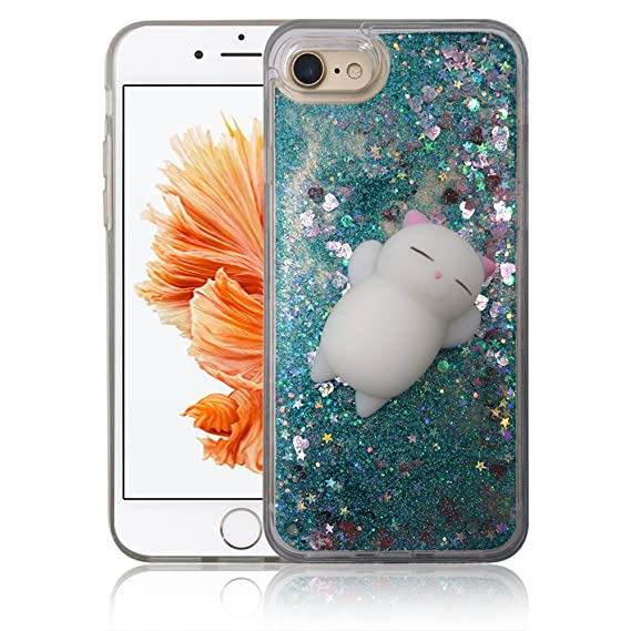 factory authentic 0e539 53c5d iPhone 7 / iPhone 8 Case, Yizhi Glitter Squishy Phone Case, Finger Pinch 3D  Cat Toy Sparkle Bling Liquid Floating Quicksand Diamond Proctive Cover for  ...