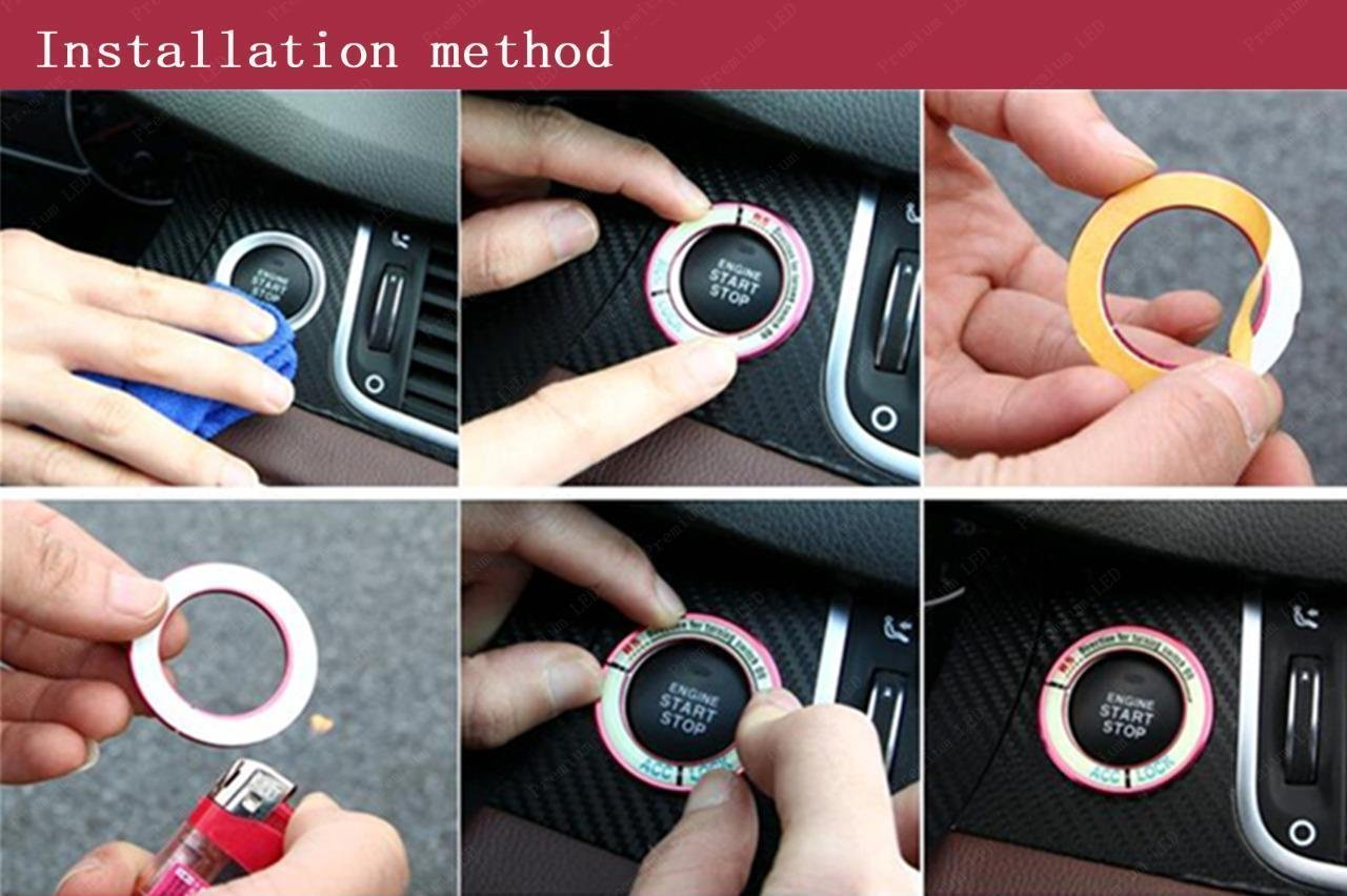 31mm Xotic Tech Direct Luminous Ignition Engine Start Stop Button Cover Sticker Xotic Tech Car Interior Decoration