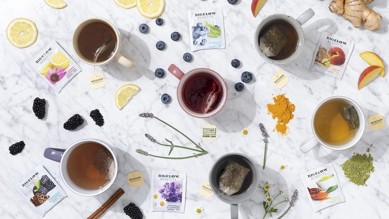 Bigelow Tea Benefits Wellness Teabag Variety Pack, Mixed Caffeinated Green Matcha & Caffeine-Free Herbal Tea