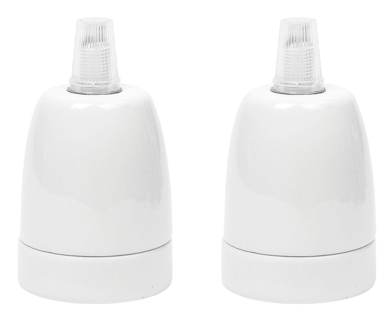 ad esempio per luci a sospensione Portalampada in Porcellana per lampadine LED// con Filo E27 moderno incl ceramica di alta qualit/à Fino a 100 W Pressacavo Colore: Bianco