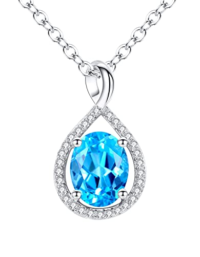 Aoiy sterling silver 14 carats natural oval swiss blue topaz aoiy sterling silver 14 carats natural oval swiss blue topaz pendant necklace for women and girls mozeypictures Images