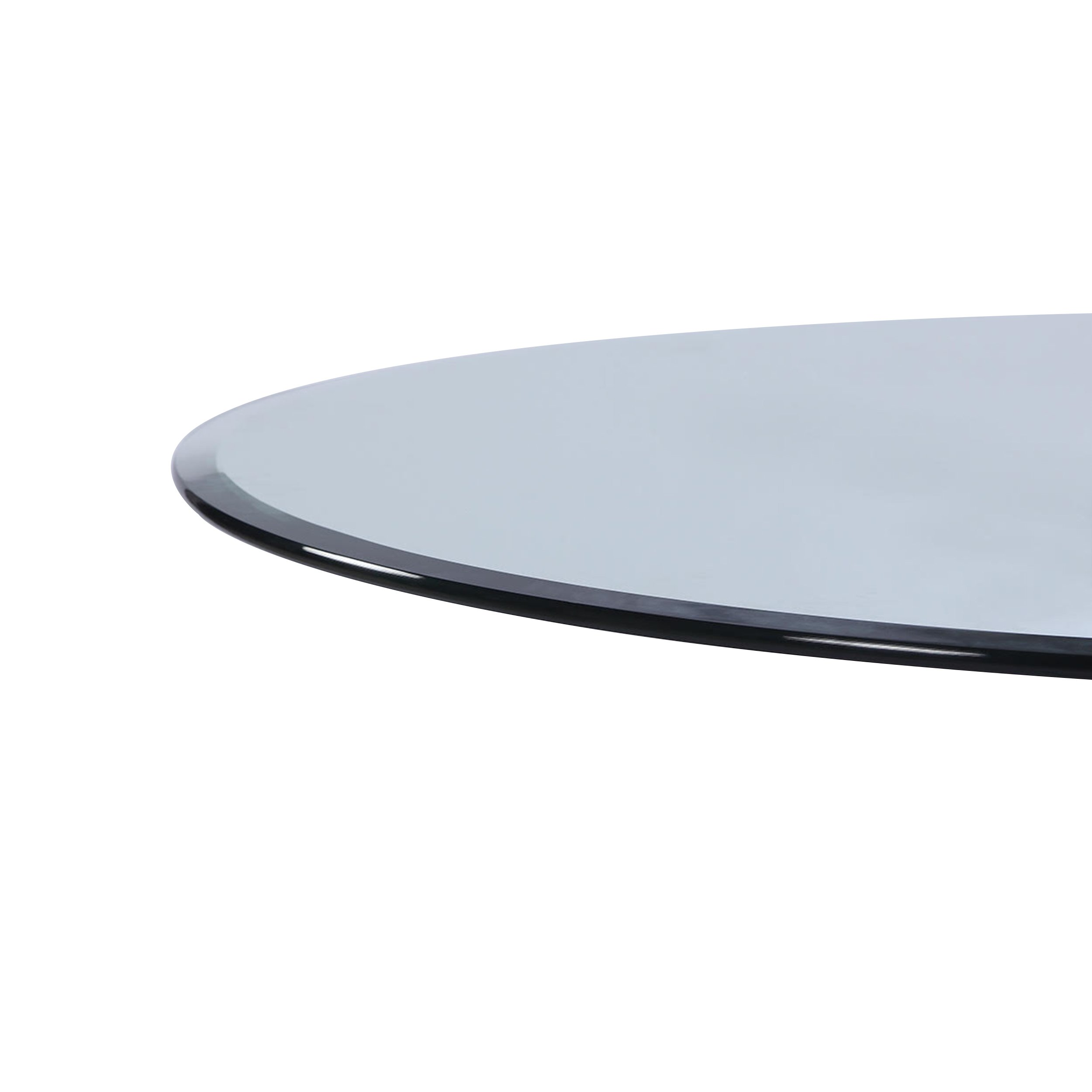 Milan 30'' Round Tempered Glass Top, 3/8'' Thick with 1'' Bevel Edge, clear by MILAN