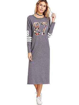 finest selection cc052 650e8 ROMWE Damen Sportlich Locker Lang Kleid Langarm Seitenschlitz Blumen  Aufdruck Print Maxikleid