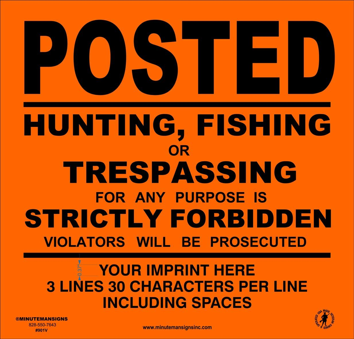 Heavy Gauge 13mil Vinyl Posted Signs with Your Custom Information (Orange)