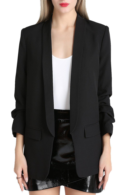 Zevrez Women's Work Jacket 3/4 Ruched Sleeve Open Front Casual Office Blazer(Black,L)