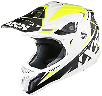 IXS HX 179 Flash Cross Casco de motocross Tri Composite – Blanco Negro Fluo Amarillo