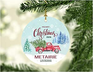"""Christmas Ornaments 2020 Metairie Louisiana State Ornament Rustic Christmas Party Decorations Holiday Funny Gift Together Family Decorated Xmas Tree Decor 3"""" MDF Plastic White"""