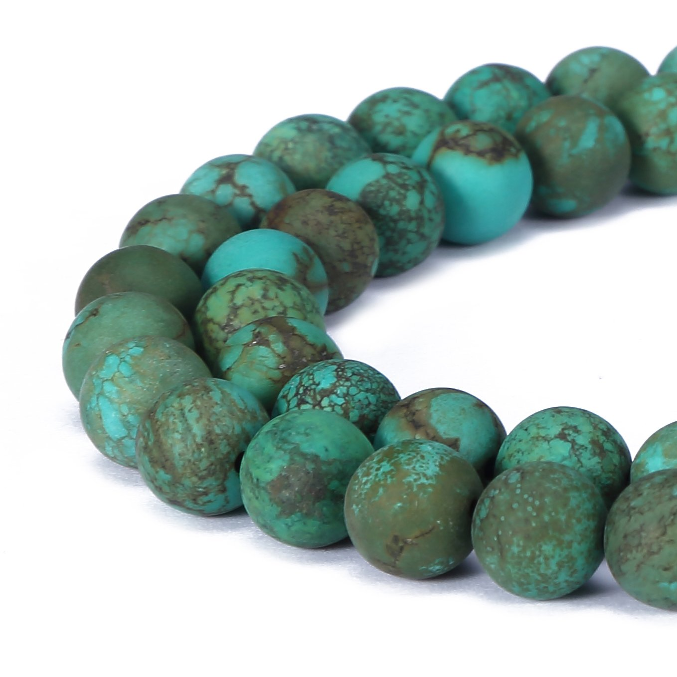 BRCbeads Chinese Turquoise Natural Gemstone Loose Beads 6mm Matte Round Crystal Energy Stone Healing Power for Jewelry Making- Dark Green