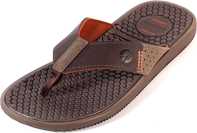 Slip-On Summer Sandals Cartago Santorini Slide Mens Flip Flops Brown
