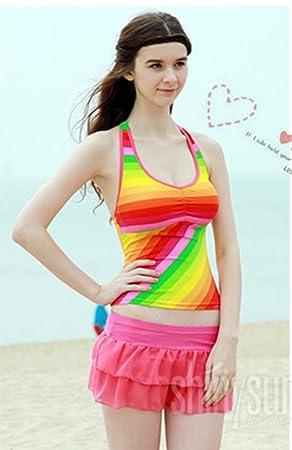 Swimming Costume Ladies Rainbow Tankini Bikini With Bra Support
