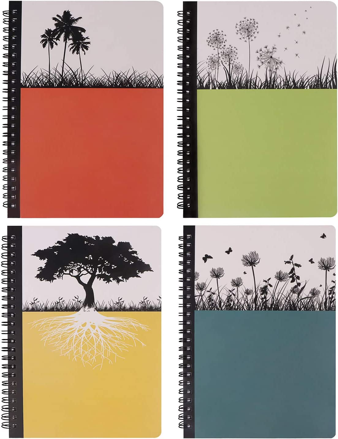 Hardcover Spiral Notebook, Dream Tree Journal to Write in, Blank Diary, Composition Notebook College ruled 80 Sheets, 9.8 x 7.1inch, 4 Pack