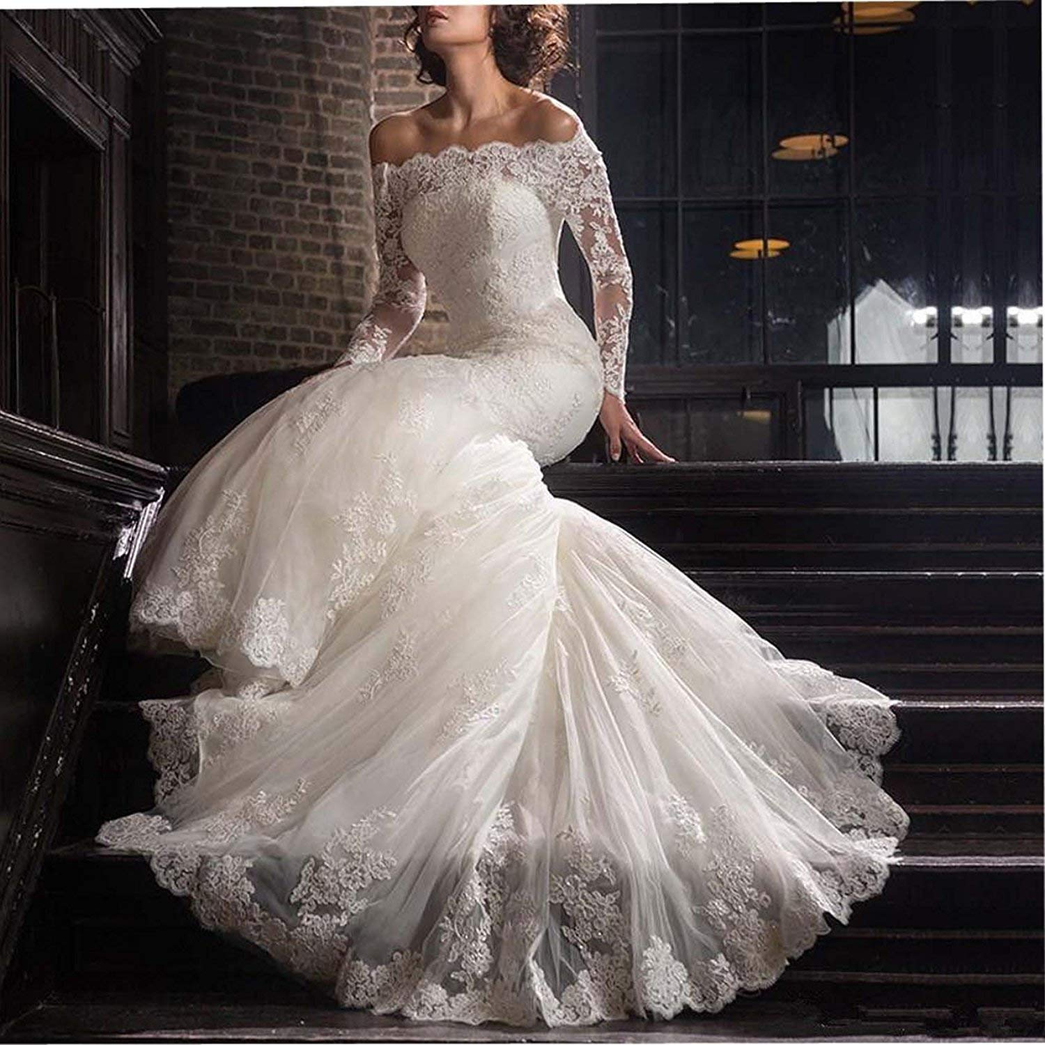 2019 Lace Mermaid Wedding Dresses Applique Beaded Long Sleeve Bridal Gowns Formal