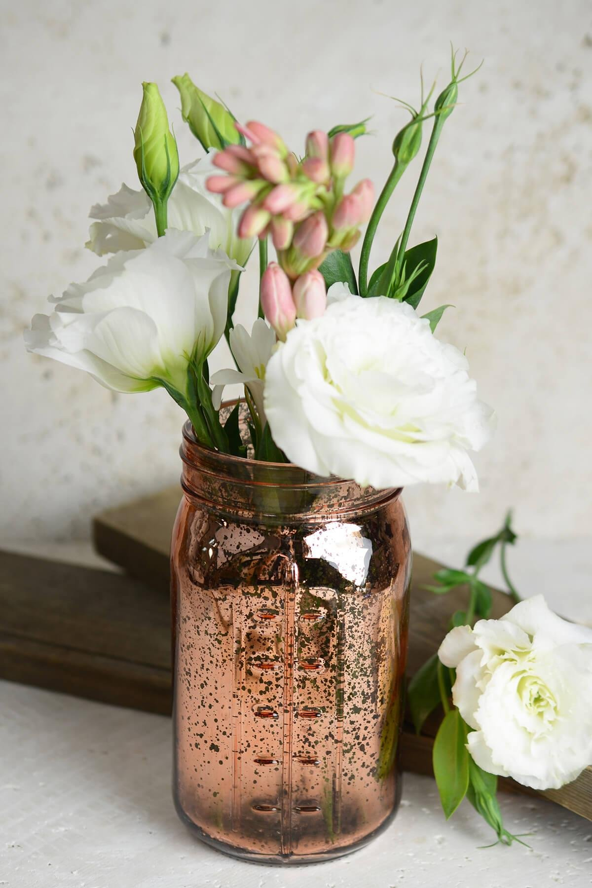 Richland Mason Jar Pink Rose Gold Mercury Glass Set of 12