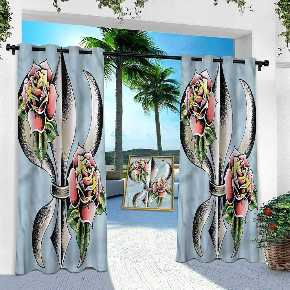 Flamingo,Zoo Animals in Pink Aishare Store Indoor Outdoor Curtains W 52 x L 84 Outdoor Pergola Curtains Patio Blackout Drapery for Front Porch//Sunroom 1 Panel