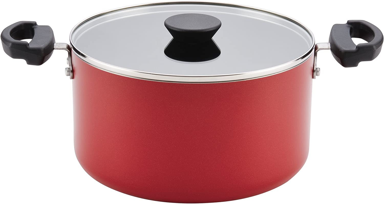 Farberware Neat Nest Aluminum Nonstick Covered Stackable Pots (6-Quart, Red)