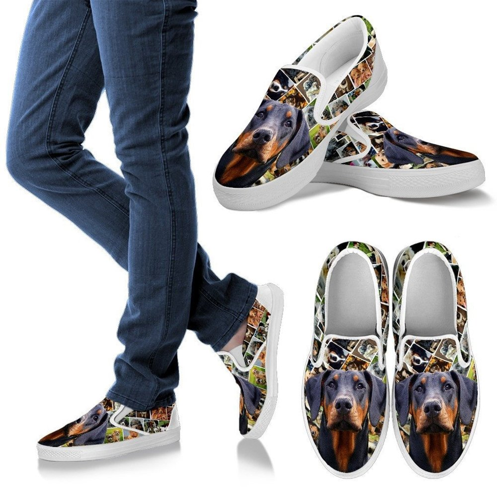 Choose Your Pet Breed Womens Slip Ons-Lovely Dog Print Amazing Slip Ons Shoes 12, Doberman Pinscher