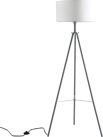 Ambiore Tripod Floor Lamp With Complimentary Bulb Miller Indoor Standing Light For Mid Century Living Room And Bedroom Contemporary Gray Stand With Brushed Nickel Touch White Fabric Shade Home