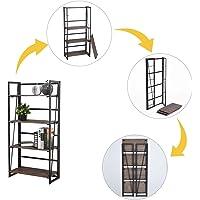 FurnitureR Sin Ensamblaje Estantes Plegables con 4 Repisas Estilo Industrial y Vendimia Elegante Librero Estantes de Almacenamiento para Cocina, Oficina, Sala