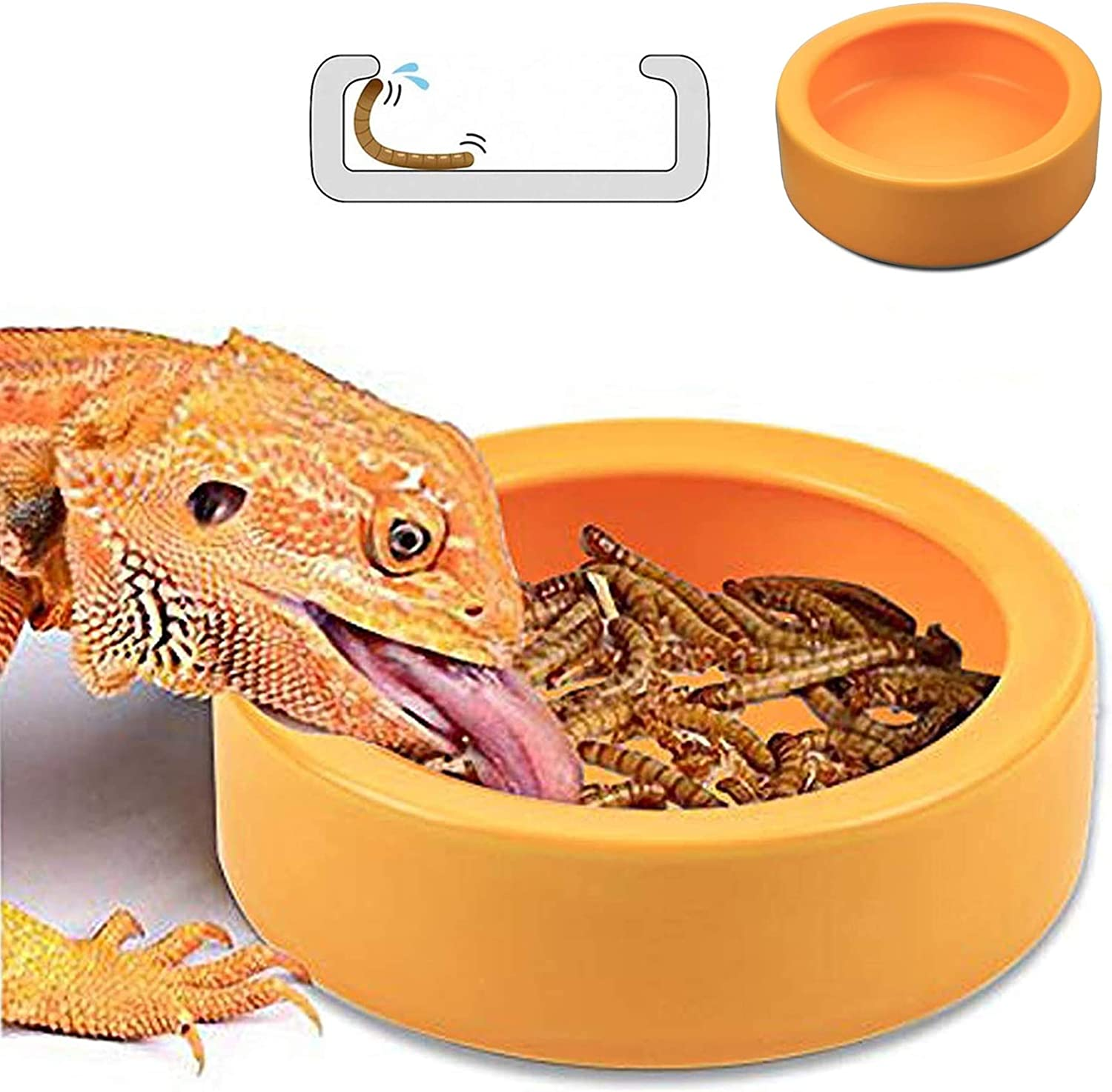 Reptile Food Dish Bowl, Worm Water Dish Small (2.75in) Lizard Gecko Ceramic Pet Bowls, Mealworms Bowls for Leopard Bearded Dragon Chameleon Hermit Crab Dubia Cricket Anti-Escape Mini Superworm Feeder