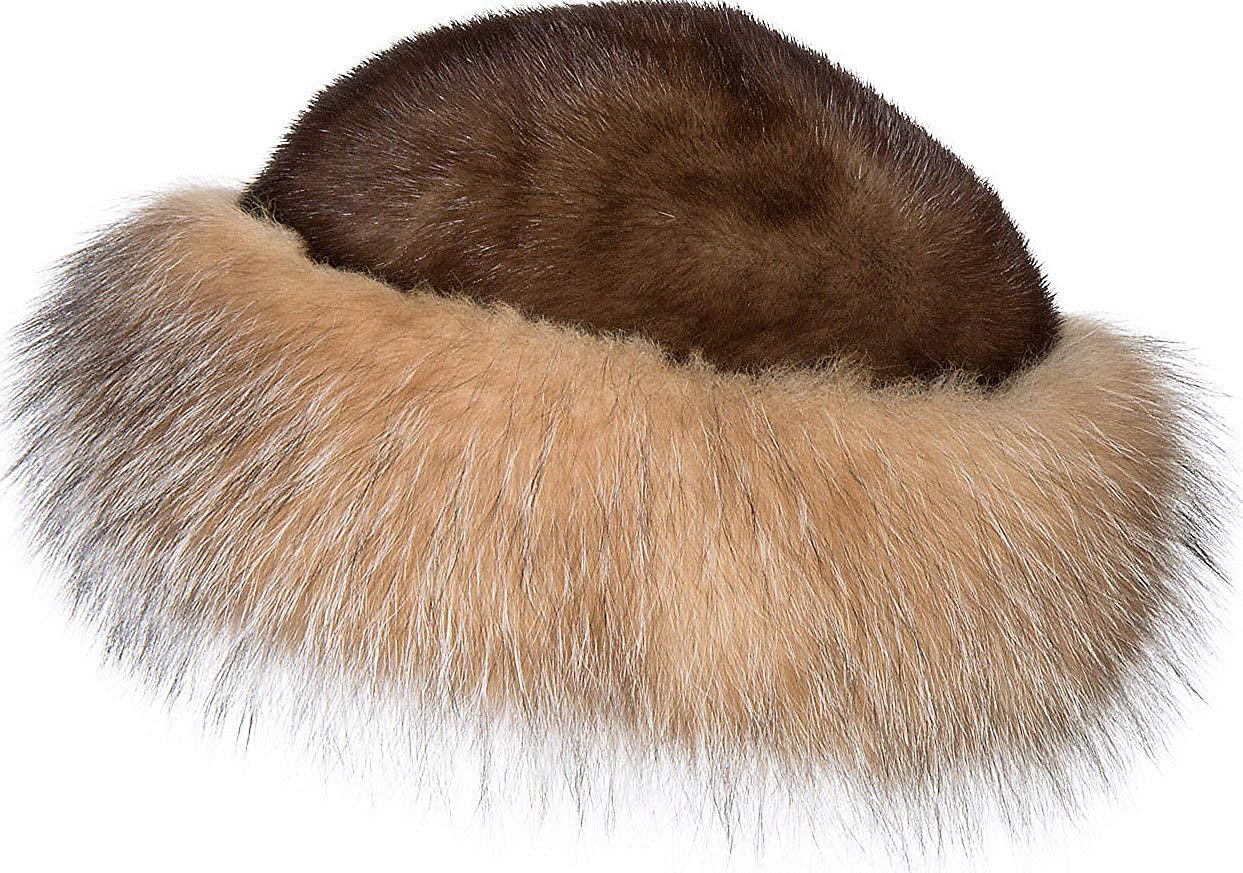 9143a1f2cef Amazon.com  Overland Sheepskin Co Mink Fur Cossack Hat with Fox Fur Trim   Clothing