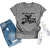 Women Cowboy Funny Graphic Vintage T-Shirt Hold Your Horses Letter Tee Top