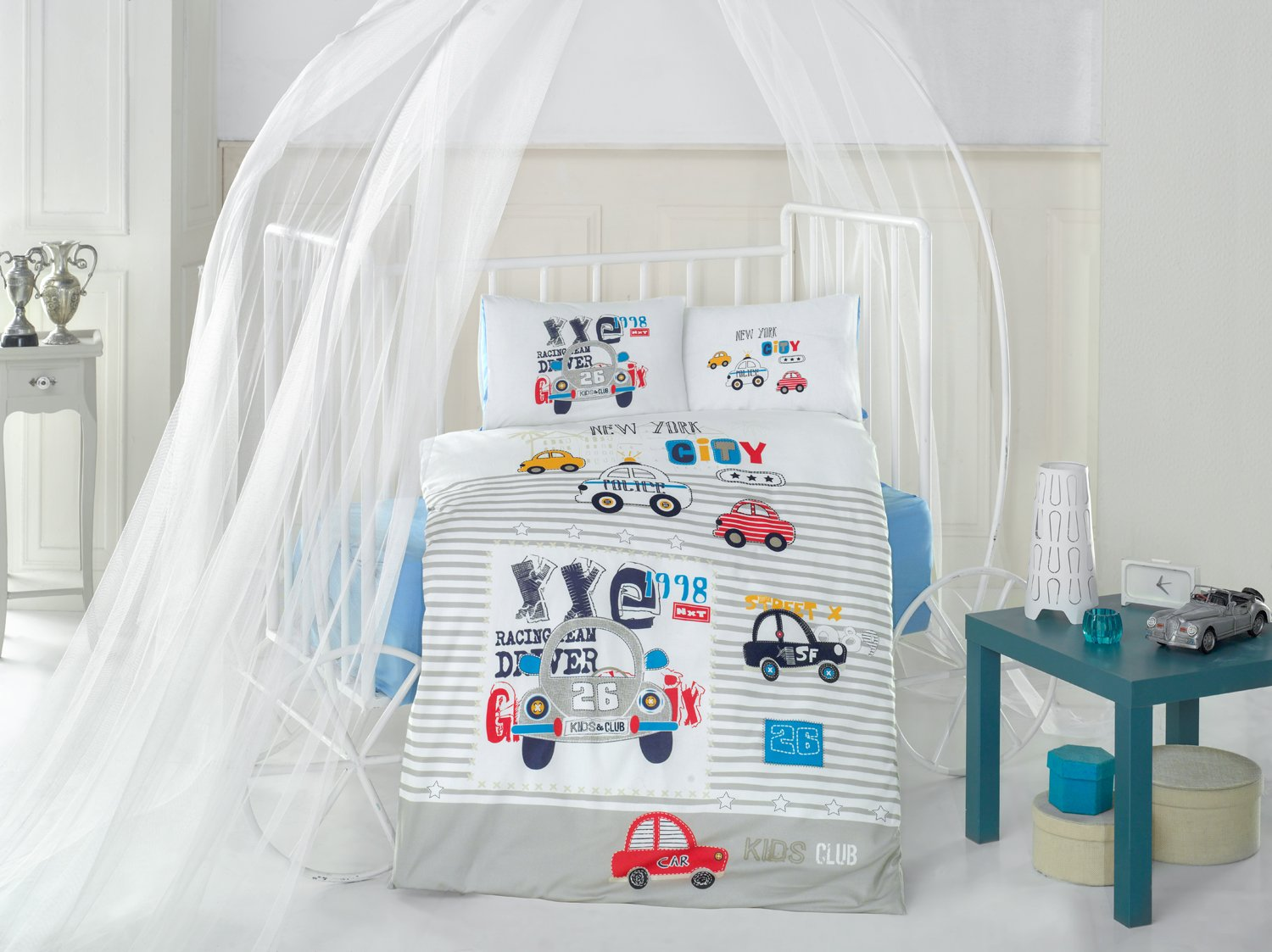 City Car Red Baby Cot Bed Duvet Cover Set, 100% Cotton Soft and Healthy 4-Pieces Bedding Set