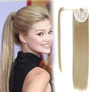 22Inch Long Hair Ponytail Extension Clip in Straight Wrap Around Ponytail  Extension for Woman