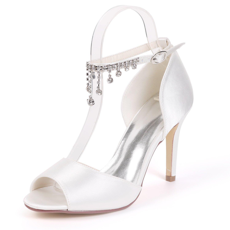 blanc JRYYUE Chaussures de Mariage Satin Femme Bout Ouvert Strass Pendentif Talon Haut Boucle Mary Jane Pompes Soirée 9CM Chaussures pour Femme Talon Mariage