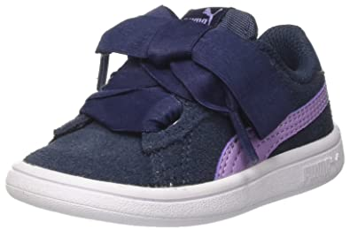 Puma Unisex-Kinder Smash v2 Ribbon AC PS Sneaker, Blau (Sargasso Sea-Purple Rose), 32 EU