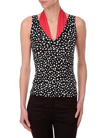 5f76e7d218cd1 Morgan - Top - À Pois - Femme - Noir (Noir Blanc Rouge) - L  Amazon ...
