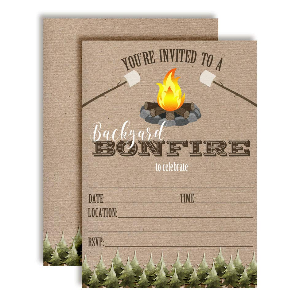 Backyard Bonfire Party Invitations, 20 5''x7'' Fill in Cards with Twenty White Envelopes by AmandaCreation