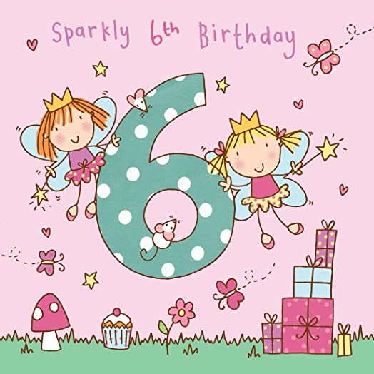 Twizler 6th Birthday Card for Girl with Fairy Princess and Glitter – Birthday Cards for Girl