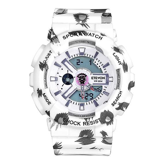 Reloj deportivo de cuarzo digital analógico multifuncional e impermeable de Etevon para Mujer, funciones de calendario, alarma y cronómetro, color blanco: ...