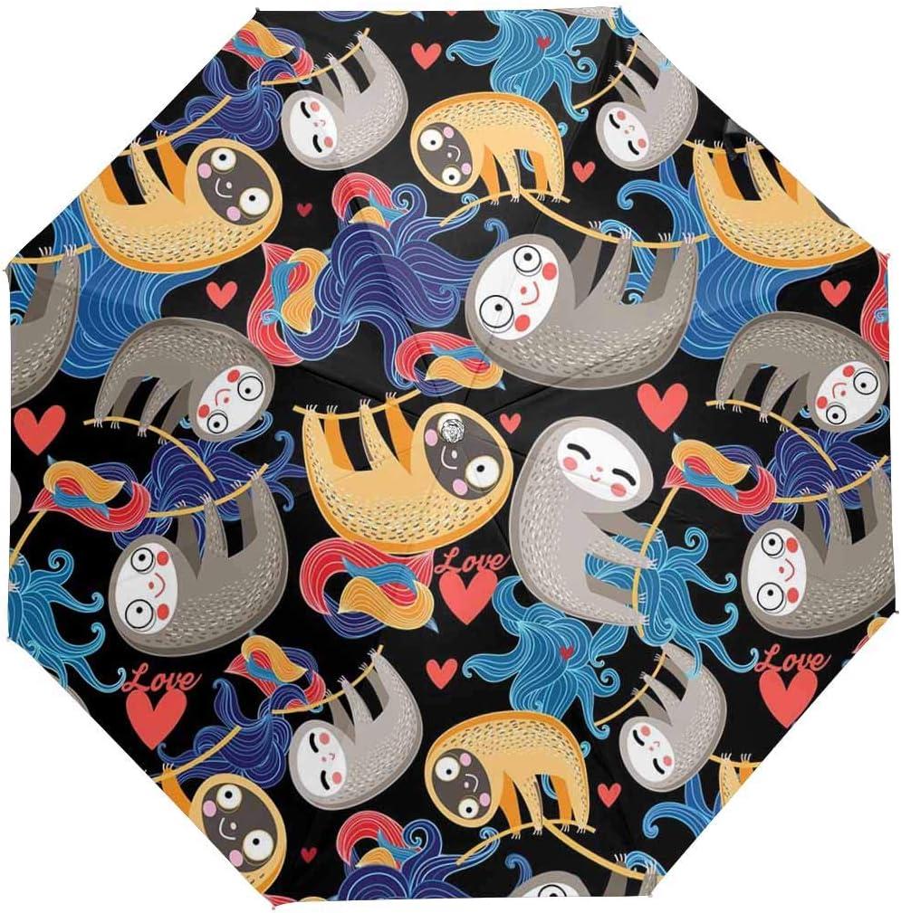 InterestPrint Custom Sloth Valentines Day Anti Sun UV Foldable Travel Compact Umbrella