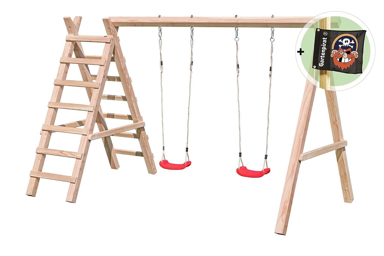 Schaukelgestell mit Leiter Typ 2.2 Doppelschaukel aus Lärchenholz von Gartenpirat®
