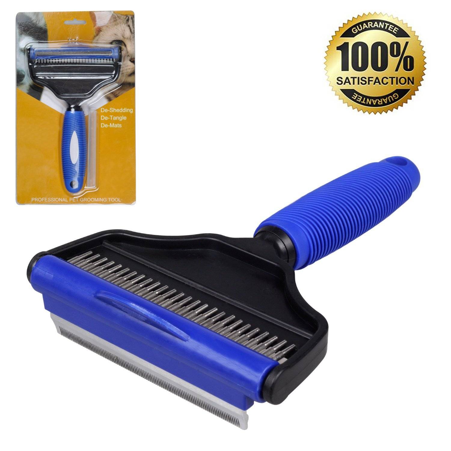 He& Ha Pet 2 in 1 Deshedding Tool - Dog and Cat Grooming Brush for Shedding and Undercoat Rake for Dogs with Long Hair