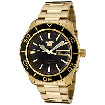 c12560cda Seiko Men's SNZH60 Seiko 5 Automatic Black Dial Gold-Tone Stainless Steel  Watch